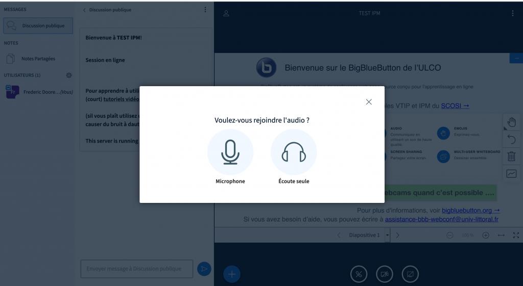écran d'accueil de BigBlueButton
